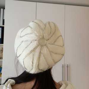 Knitted Hat natural white synthetic fibre