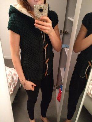 Zara Veste tricotée en grosses mailles vert foncé coton