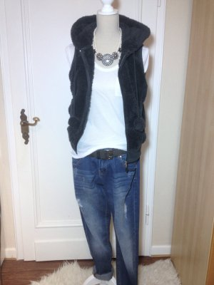 Fur vest dark blue-grey polyester