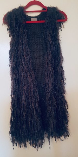 Vero Moda Fringed Vest dark grey-anthracite