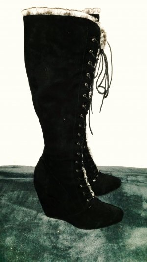 Lace-up Boots black-grey suede