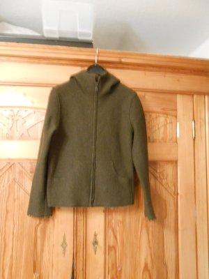 Backstage Chaqueta con capucha verde oscuro-gris verdoso lana de esquila