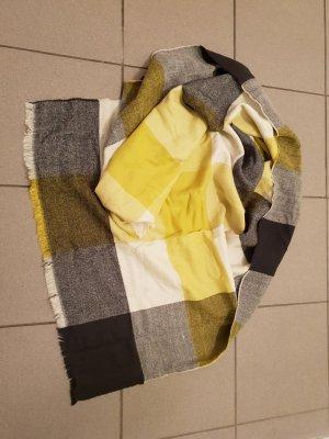 Kuscheliger großer Schal in gelb grau schwarz