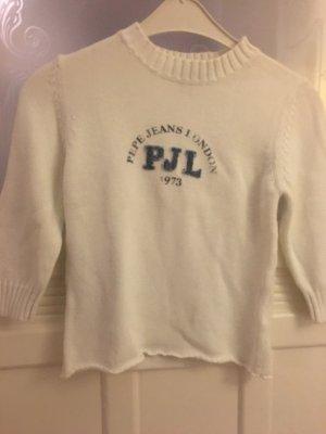 Kuscheliger kurzer weißer Pullover von Pepe Jeans im Vintage Look
