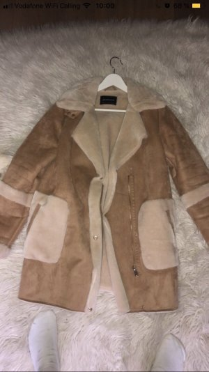 Stradivarius Fake Fur Coat beige-natural white