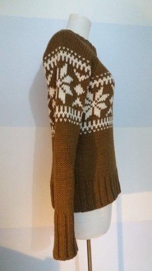 Hallhuber Norwegian Sweater natural white-brown wool
