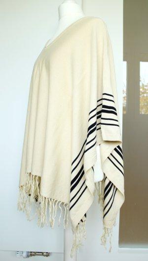 Kuscheliger Poncho von H&M beige schwarz Einheitsgröße neu