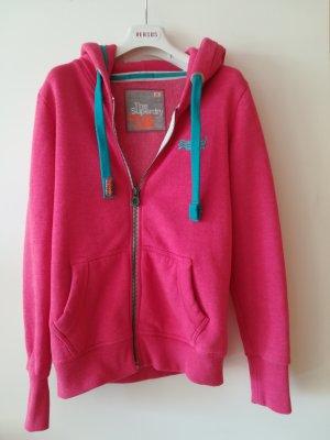 Kuscheliger Pulli mit Hoodie von SUPERDRY, leuchtendes Pink/Tuerkis, Gr. S