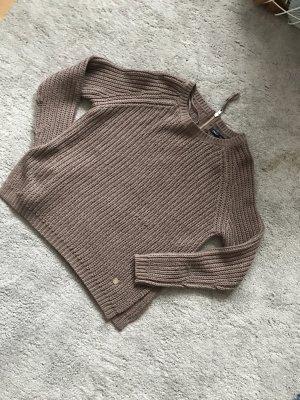 Only Pull à gosses mailles marron clair-gris brun