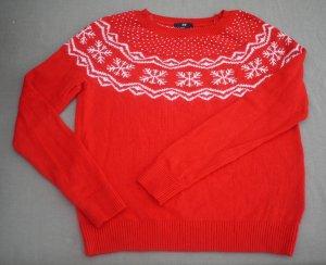 Kuscheliger Pullover im Norweger-Style, orange + Schneeflocken, Angora-Polyamide-Viscose