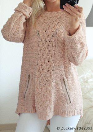 Kuscheliger Pullover Rosa Pastell Oversize