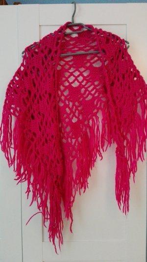 Crochet Scarf pink-neon pink polyacrylic