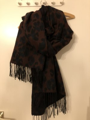 H&M Bufanda de lana negro-rojo amarronado
