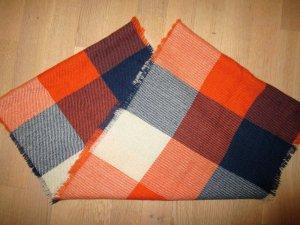 Kuscheliger Schal#Karo-Loop#orange-blau-weiß