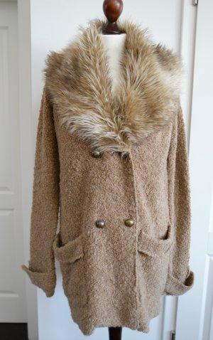 Zara Manteau en tricot chameau-blanc cassé tissu mixte