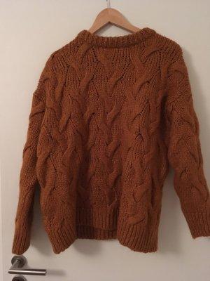 Zara Pull tricoté orange foncé