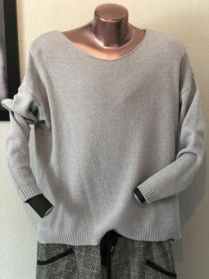 Kraagloze sweater lichtgrijs Gemengd weefsel
