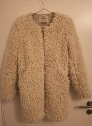 Zara Trafaluc Abrigo de piel sintética blanco puro-beige claro