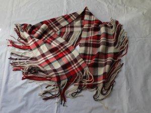 Kuscheliger wollweiß-rot-grau karierter Schal mit Fransen