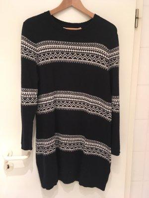 H&M L.O.G.G. Knitted Dress dark blue-white alpaca wool