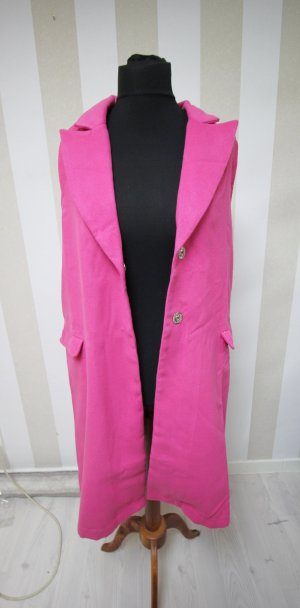 Cardigan lungo smanicato rosa