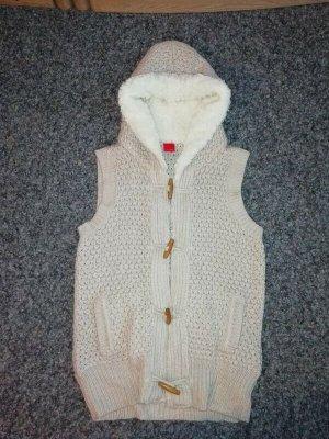 Chaleco con capucha blanco-beige claro