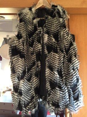 Tom Tailor Vest van imitatiebont zwart-wit