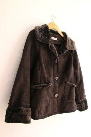 Canda Fake Fur Jacket dark brown fake fur