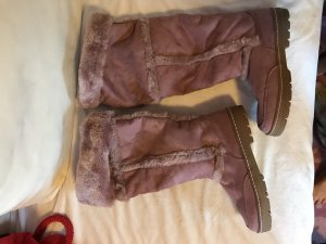 Kuschlige Stiefel Boots Winter Fell Lang taupe Rose Overknee