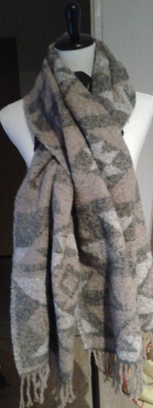 Pieces Woolen Scarf silver-colored-sand brown