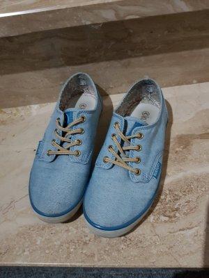 kustom Sneaker Halbschuh blau beige Blumen 36