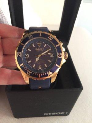 Kyboe Gold Serie KG-002 Giant 48 Damenuhr gold/blau mit Leuchtfunktion Neuwertig