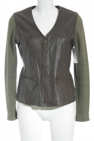 Kyra&Ko Leather Jacket dark brown-green grey casual look