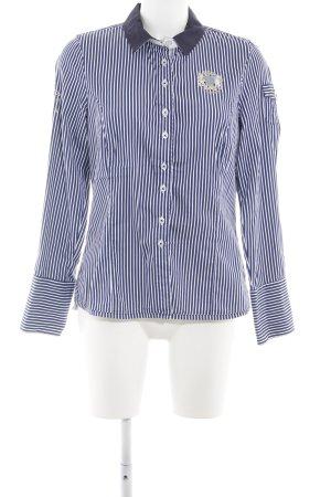 L'Argentina Hemd-Bluse weiß-blau Streifenmuster Casual-Look