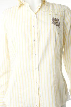 L'Argentina Hemd-Bluse gelb-weiß Motivdruck Beach-Look