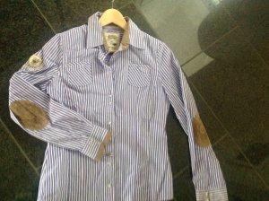 L'Argentina la Gauchita Business Bluse Hemd mit Ellenbogen Paches 38 M gestreift lila weiß