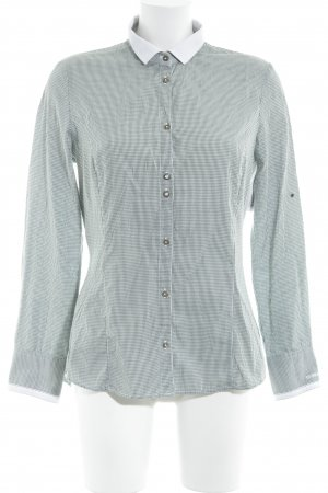 L'Argentina Long Sleeve Shirt dark green-white check pattern classic style