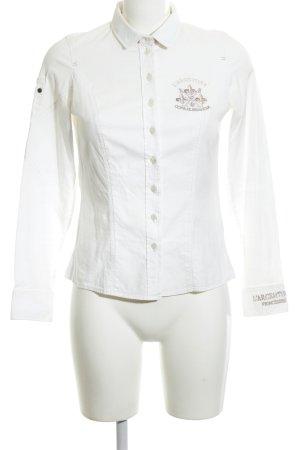L'Argentina Camisa de manga larga blanco letras bordadas look casual