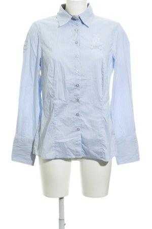 L'Argentina Langarmhemd himmelblau-weiß Streifenmuster Business-Look