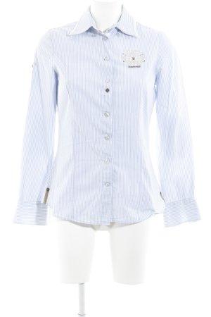L'Argentina Langarmhemd himmelblau-weiß Streifenmuster klassischer Stil