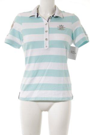 L'Argentina Polo-Shirt weiß-babyblau Streifenmuster sportlicher Stil