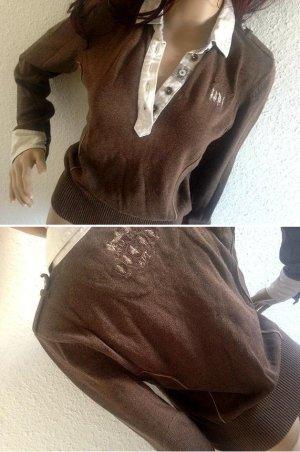 L'ARGENTINA Pullover Swearshirt Pulli Poloshirt S 34-36 choko braun