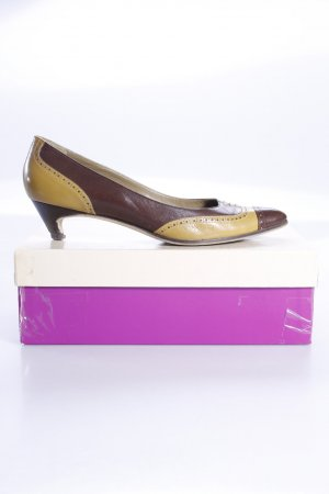 L'Autre Chose Pumps brown red-lime yellow leather