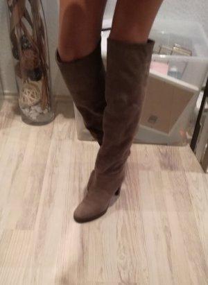 L'Autre Chose Overknees dark grey-grey brown leather