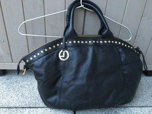 l´credi Nappaledertasche schwarz mit goldenen Nieten