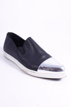 L'Estrosa Schlüpfschuhe schwarz-silberfarben extravaganter Stil