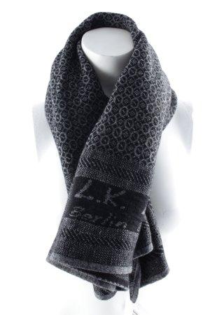 L.k. berlin Gebreide sjaal zwart-donkergrijs abstract patroon