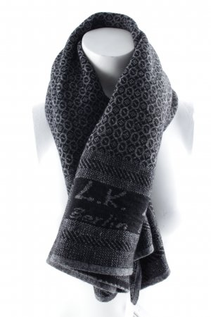 L.k. berlin Knitted Scarf black-dark grey abstract pattern street-fashion look