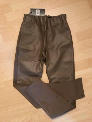 Pantalón de cuero marrón claro-beige Cuero