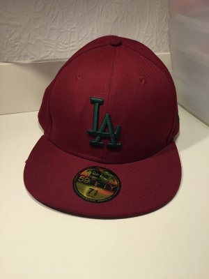 LA Baseballcap in rot mit grünem Print